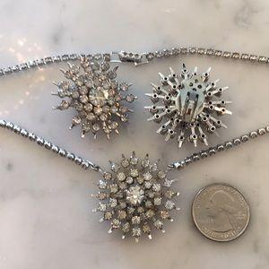 Vintge rhinestone starburst clip earrings and neck